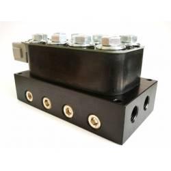 Ilmajousituksen venttiilipaketti + switchbox kulmakohtaiseen säätöön
